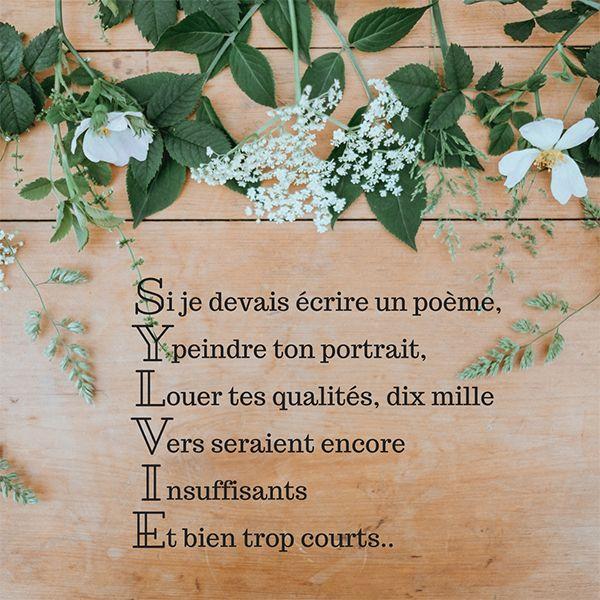 Un Poème Pour Souhaiter Bonne Fête à Sylvie Divers