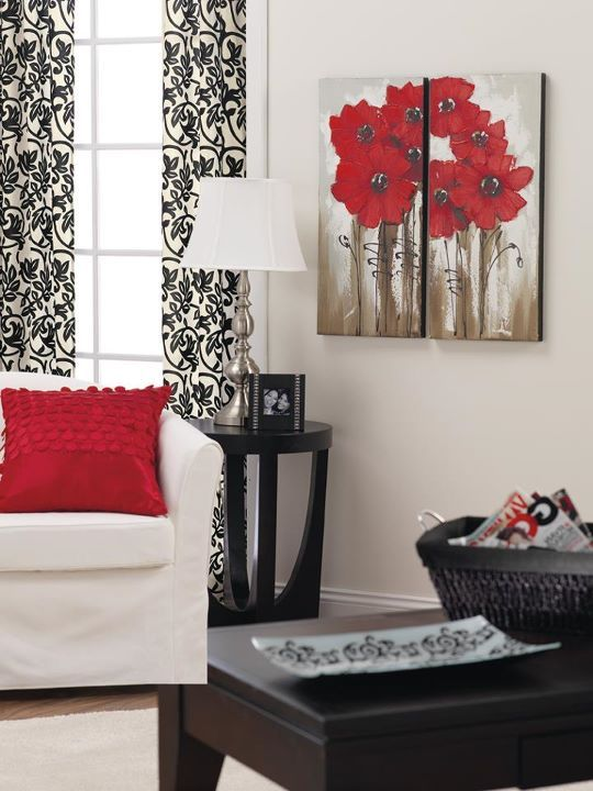 Love Red Black And White Together I Have The Curtain Panels And Paintings In My Living Room Living Room Themes Living Room Red Curtains Living Room #red #white #and #grey #living #room