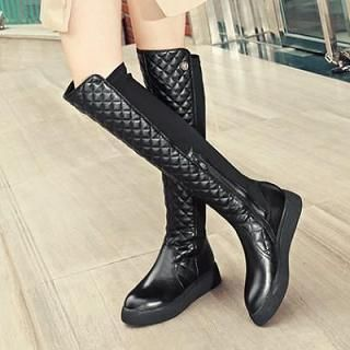 Buy 'JY Shoes – Genuine Leather Quilted Over-The-Knee Boots' with Free International Shipping at YesStyle.com. Browse and shop for thousands of Asian fashion items from China and more!