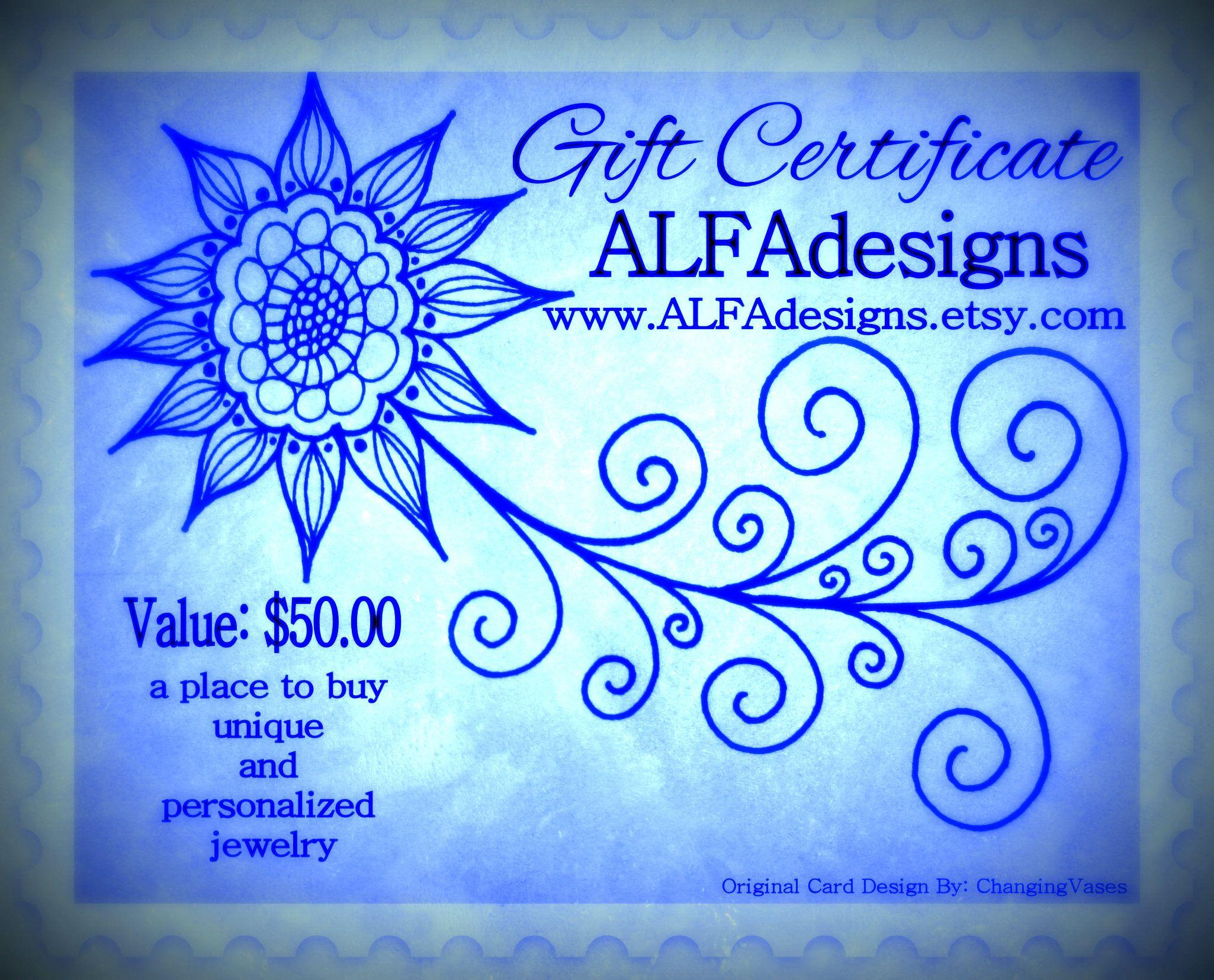 50 dollars gift certificate to ooak handmade jewelry shop