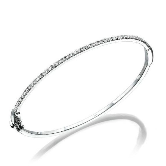 1 2 Carat Diamond Bangle 14k White Gold Diamond Bracelet White Gold Bracelet White Gold Diamond Bracelet Bride Bracelet