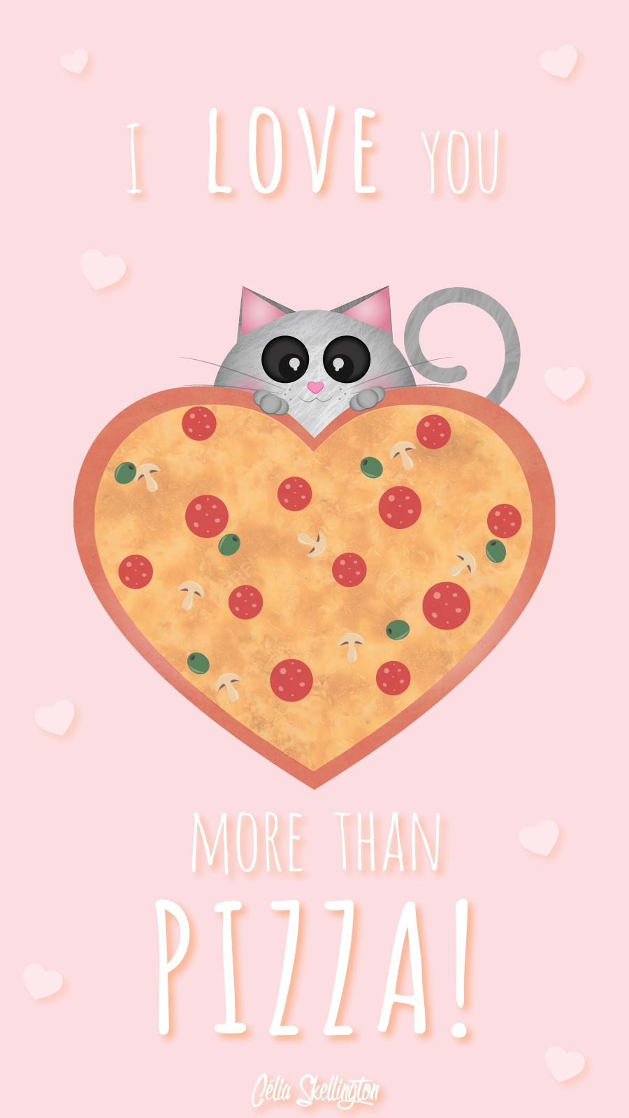 Pink Girl Pastel Pizza Love Iphone Lock Wallpaper Panpins