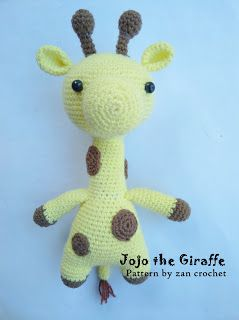 Jojo the Giraffe ~ Zan Crochet, #crochet, free pattern, amigurumi, stuffed toy, #haken gratis patroon (Engels), giraf, knuffel, speelgoed, #haakpatroon
