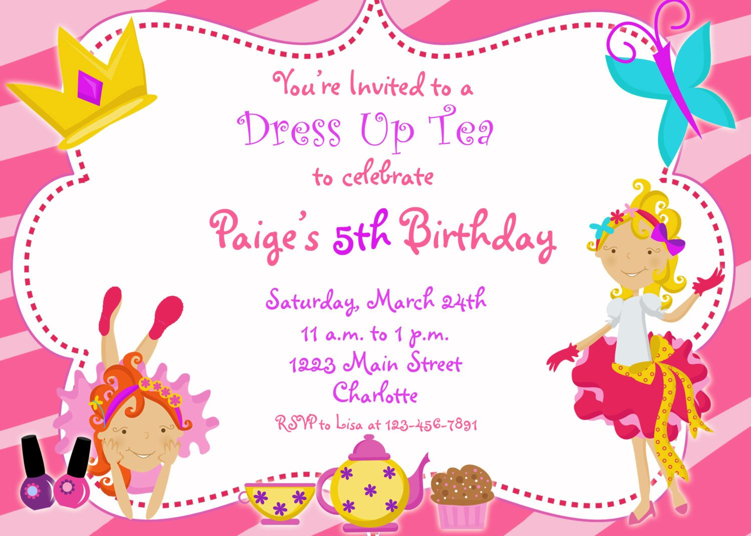 Dress Up Party Birthday Invitation -- funky dress up glamour party ...
