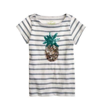 Girls' sequin-pineapple stripe tee
