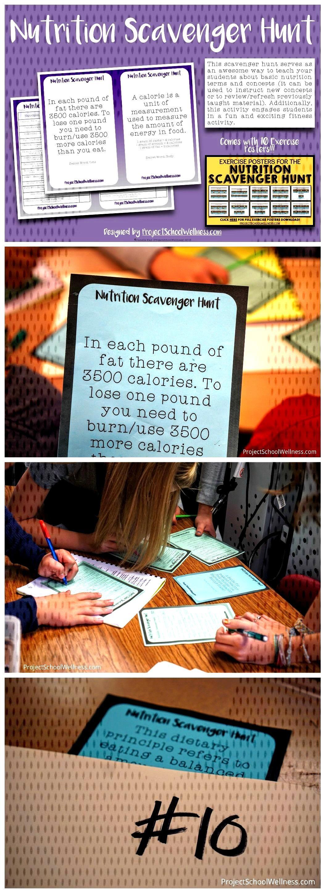 Nutrition Scavenger Education Health Lesson Middle