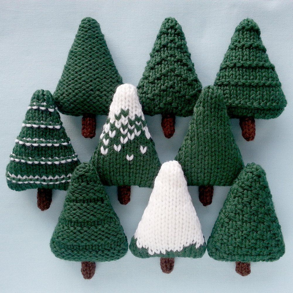 Nine different Christmas trees which can be left as they are or decorated. The trees are knit flat and are approximately 6.5 x 10 cm (2.5 x 4 inches). They are perfect for making baubles, garlands and other decorations.You will need:• Cascade 220 yarn, about 7g per tree, in Forest Green (8267), White (8505) and Brown (8686).• 4mm (US 6) needles.• A tapestry needle.• Toy stuffing.• Optional: decorations such as sequins, beads, small buttons, sleigh bells, scraps of coloured yarn, ribbon or…