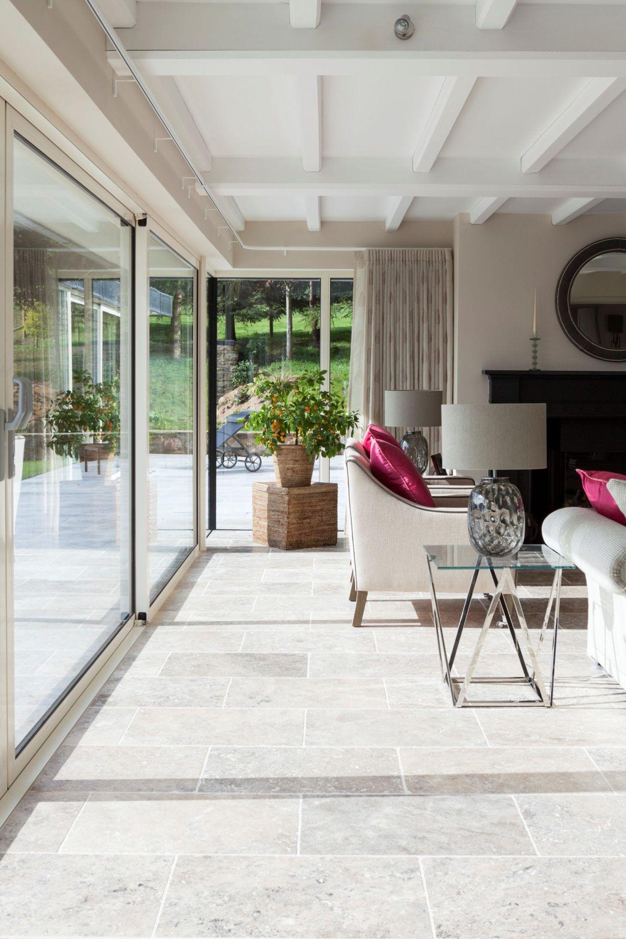 Silver Tumbled Travertine Tile Mandarin Stone Travertine Floors Living Room Tumbled Travertine Tile Travertine Floors #stone #flooring #living #room