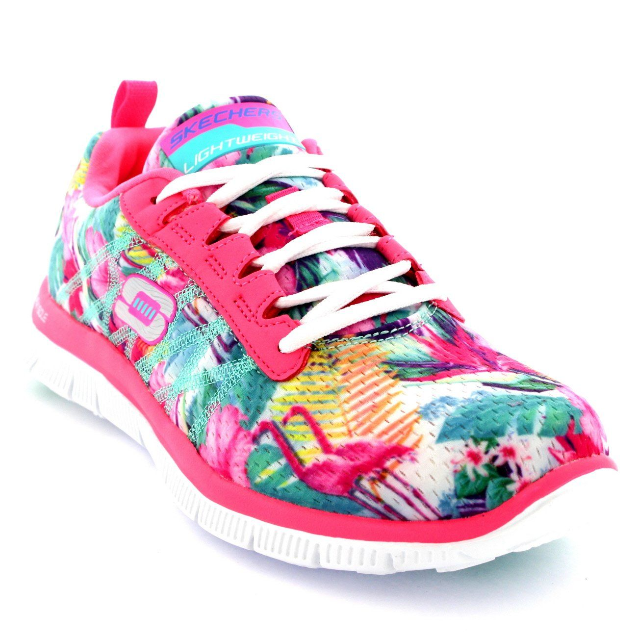 01d77156c573 Womens Skechers Flex Appeal Floral Bloom Sports Running Walking Trainers -  Pink Multi - 7