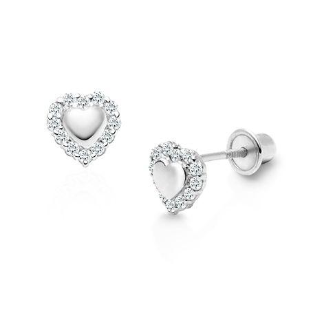 Golden Halo Clear Cz Heart Baby Children S Earrings Screw Back