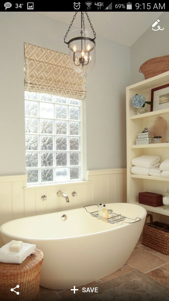 Faux Roman Shades To Cover The Ugly Gl Block Windows In Our Bathroom