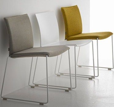 Contemporary Chair / Upholstered / Stackable / Sled Base   By Piergiorgio  Cazzaniga   MDF Italia Nice Design