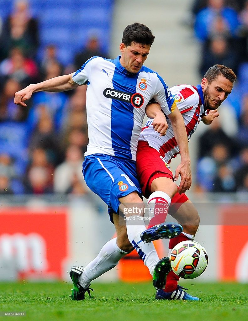 Javi Lopez Of Rcd Espanyol Competes For The Ball With Koke Club Atlético De Madrid Rcd Espanyol Atlético De Madrid