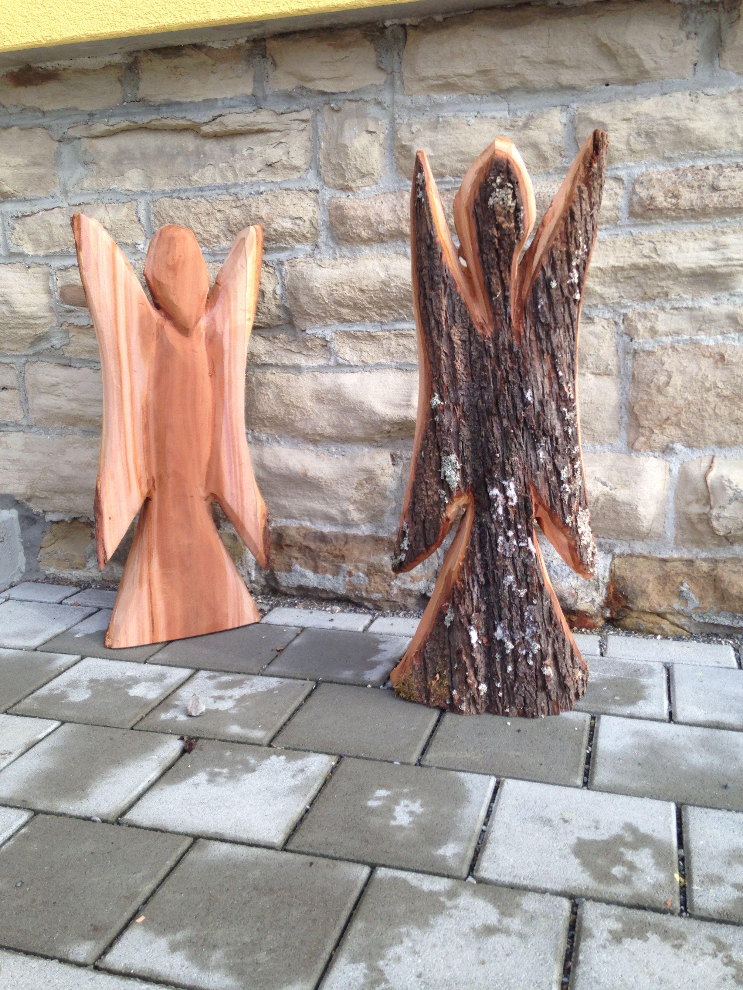 Engel selbermachen! weihnachten in diy manier. chainsaw carving