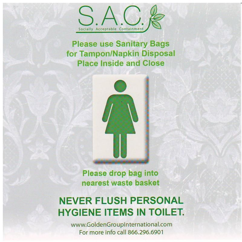 S A C Please Use Sanitary Bags Sign Lady Grace