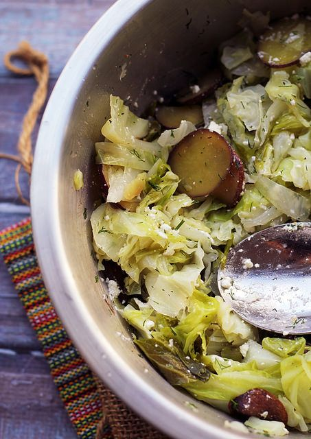braised cabbage with potatoes and feta