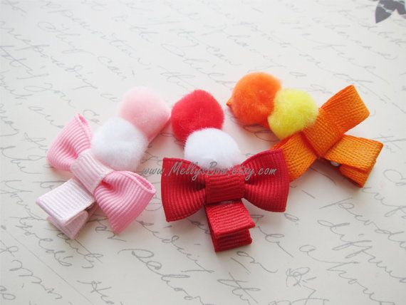 """NEW /""""POODLE DOG/"""" Girls Spring Ribbon Hairbow Clip Bow Boutique Puppy Pink Paris"""