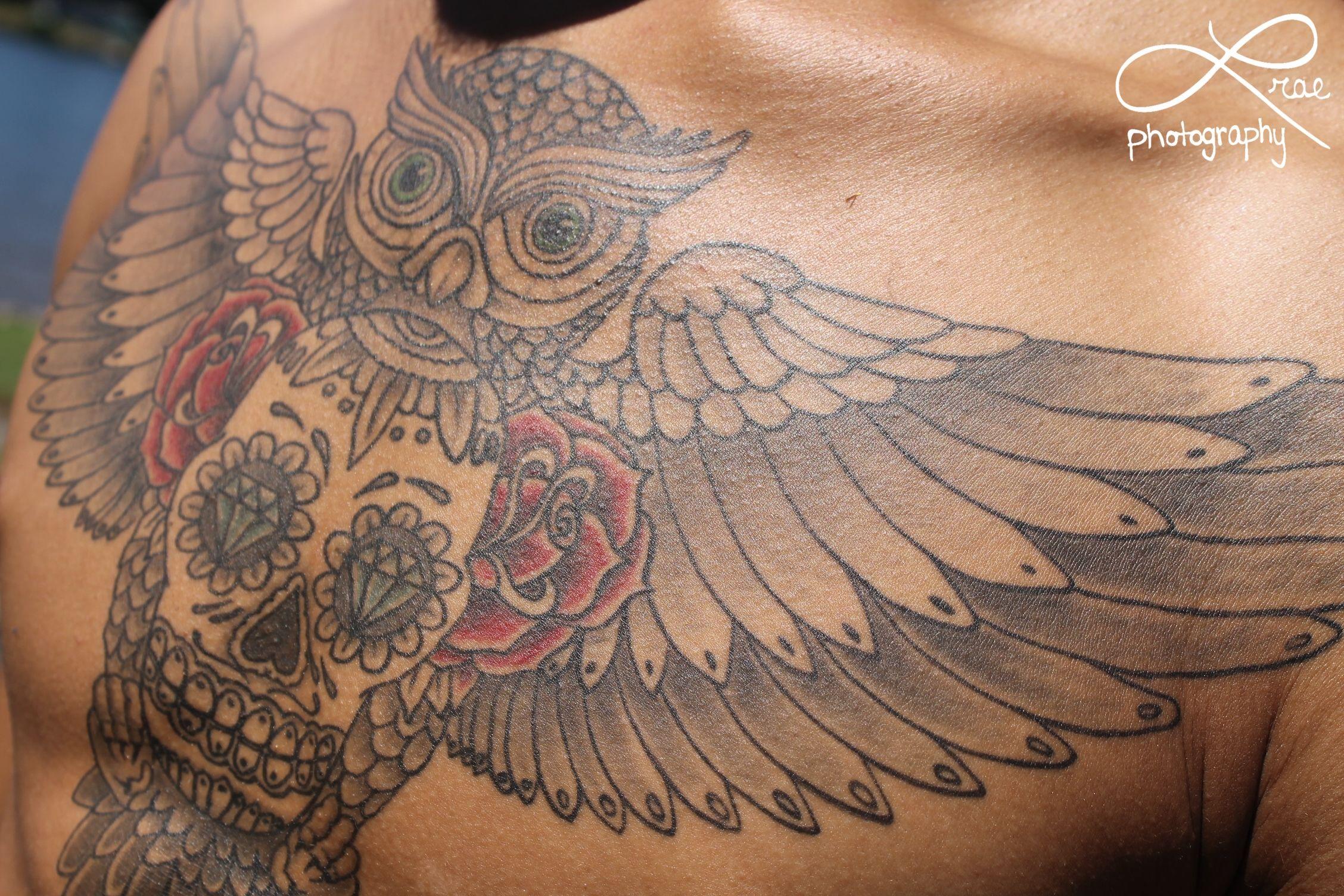 Chest Tattoo Owl Skull: Owl Skull Rose Chest Piece Tattoo