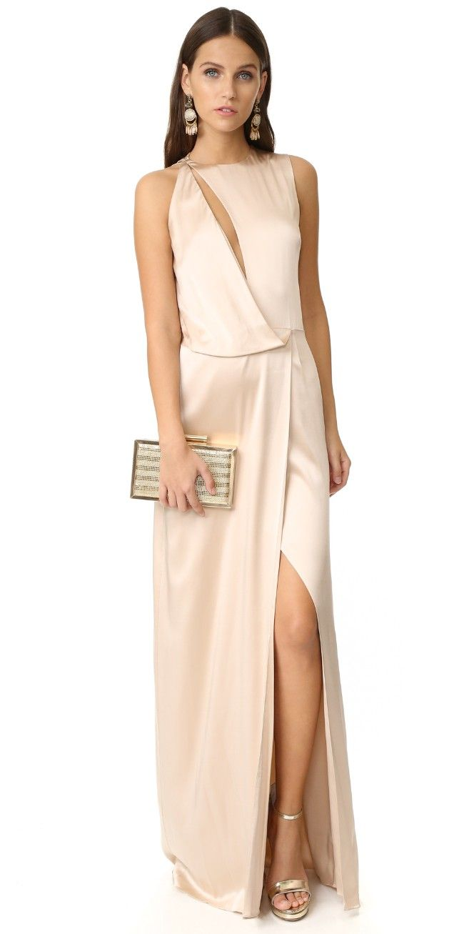 Draped Cutout Gown | Halston heritage, Gowns and Chains