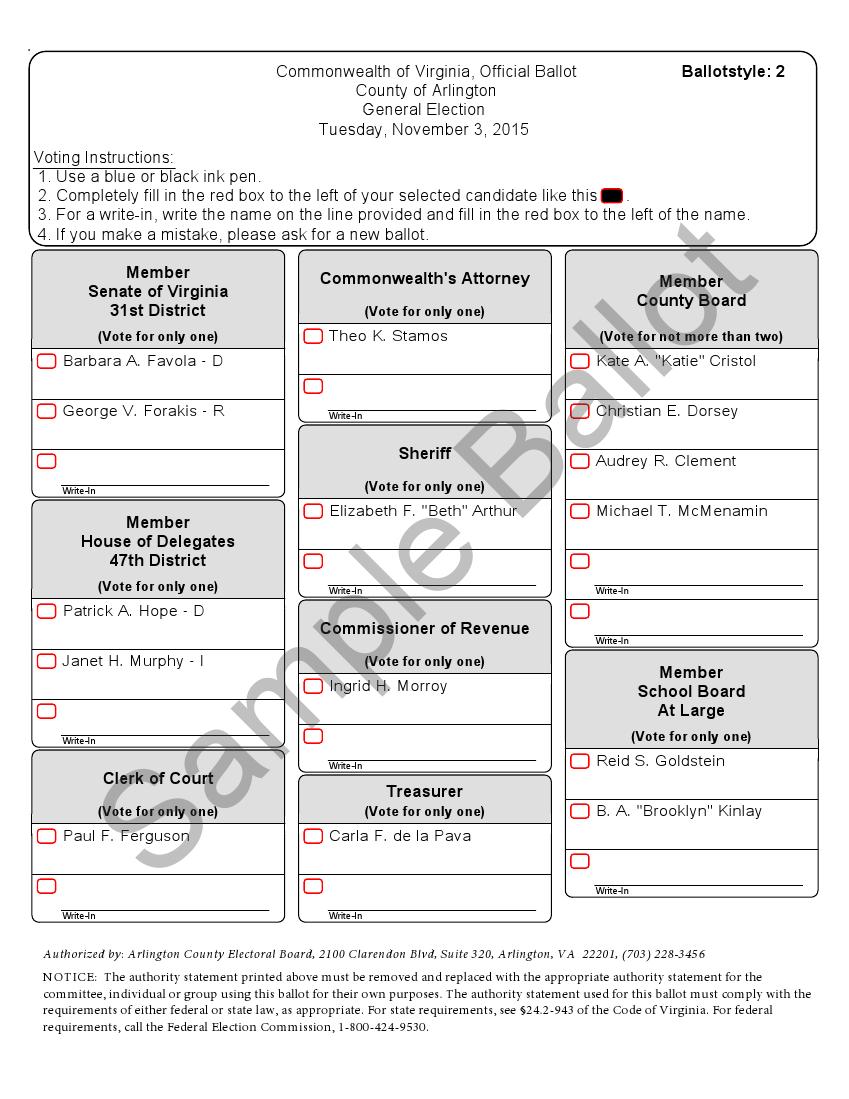 Sample ballot, Arlington County, Virginia (2015) | Ballot design | Sample ballot, Virginia