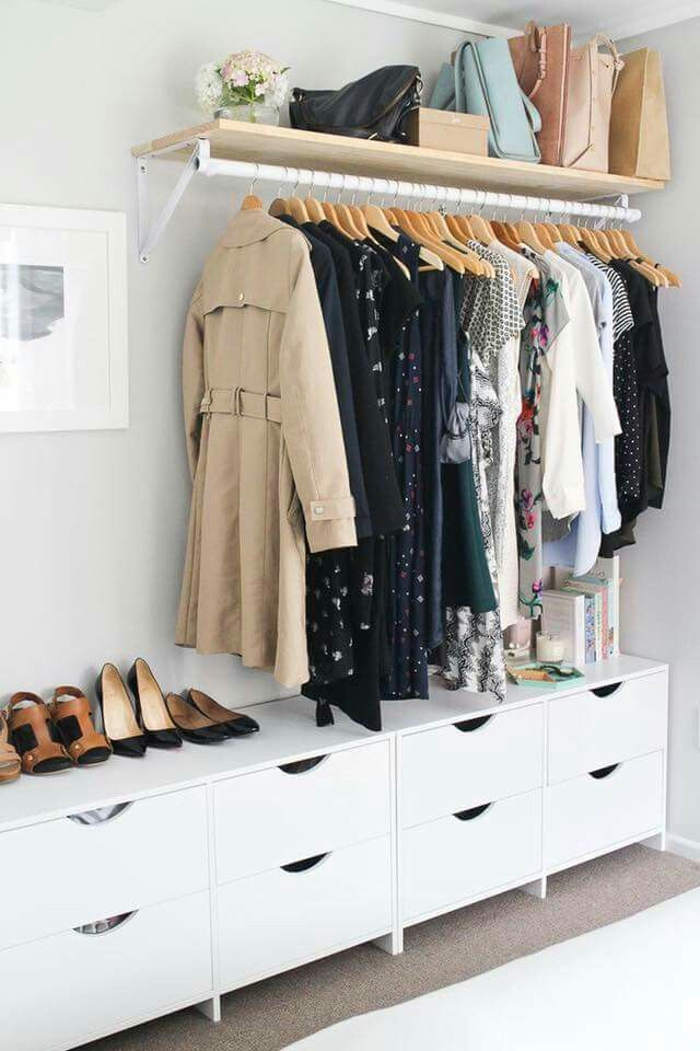 Like the drawers but not exposed closet rack | New Bedroom Ideas ...