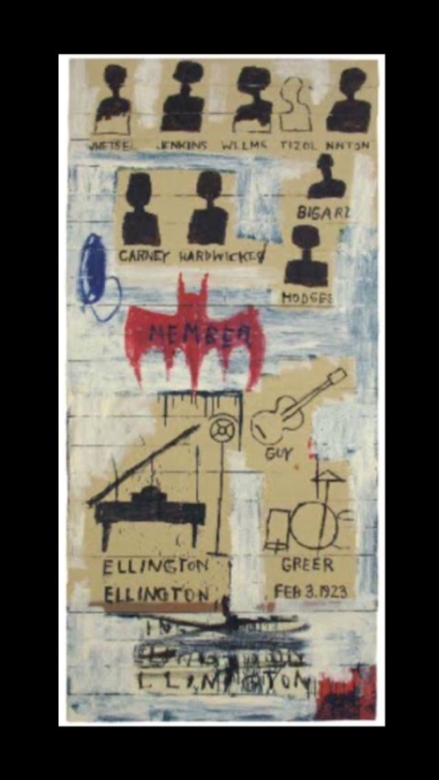 "Jean-Michel Basquiat - "" Ellington "", 1987 - Oil on wood - 215 x 100 x 10 cm"