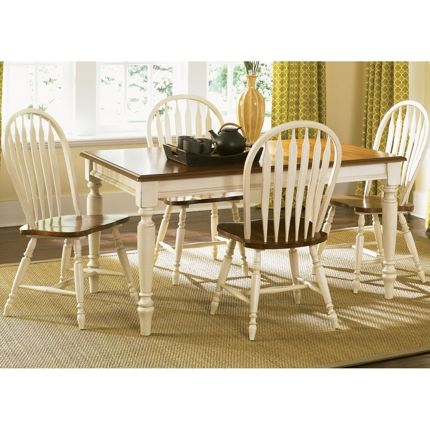 Liberty Low Country White 5 Piece Windsor Back Rectangular Table Dining Set Brown