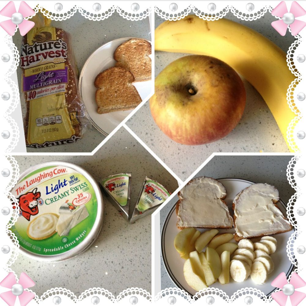 WW Breakfast/Snack ONLY 3pts  includes 1 Apple(0pts), 1/2 Banana(0pts), 2 pcs Toast(2pts), 2 wedges Laughing Cow Cheese(1pts)
