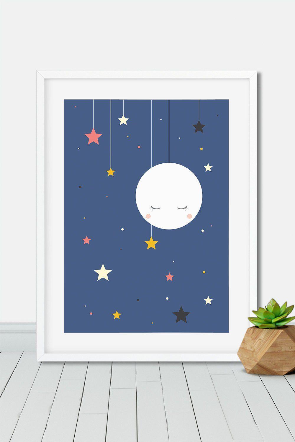 Sleeping moon and stars wall art print home art print children