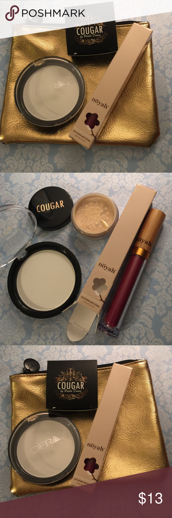 NEW high end makeup bundle with makeup bag! Full sized! Noyah lip gloss in Malbec, cougar mineral face & body shimmer in diamond kiss, ofra oil control pressed powder Ofra Makeup Face Powder