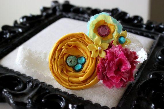 easter headband spring headband birthday rainbow headband birds nest turquoise teal pink golden yellow Spring Nest Headband by SugarDivasDesigns on Etsy, $10.00