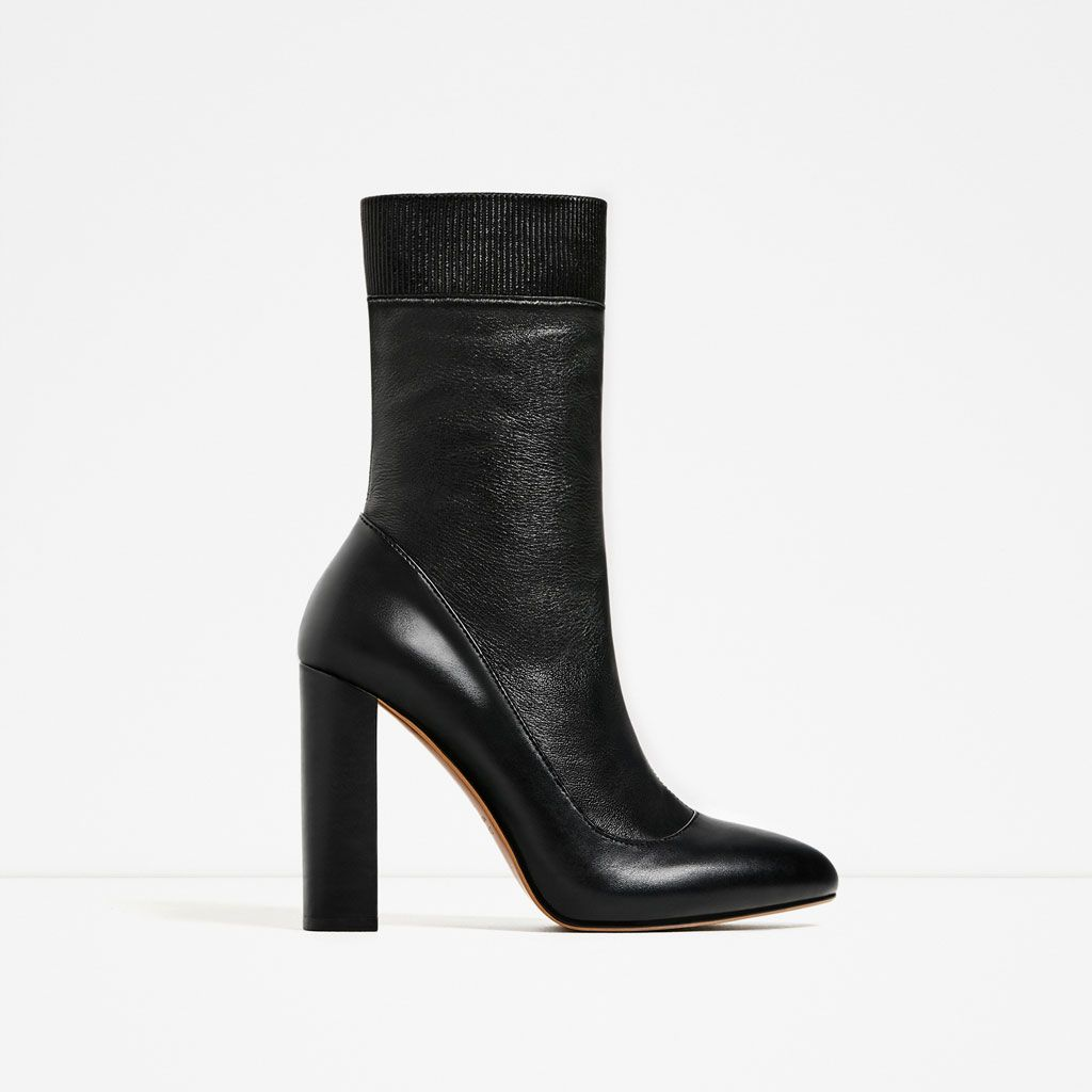 ZARA - WOMAN - HIGH HEEL STRETCH LEATHER ANKLE BOOTS | Wish List ...