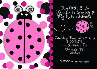 Pink and black ladybug invitation