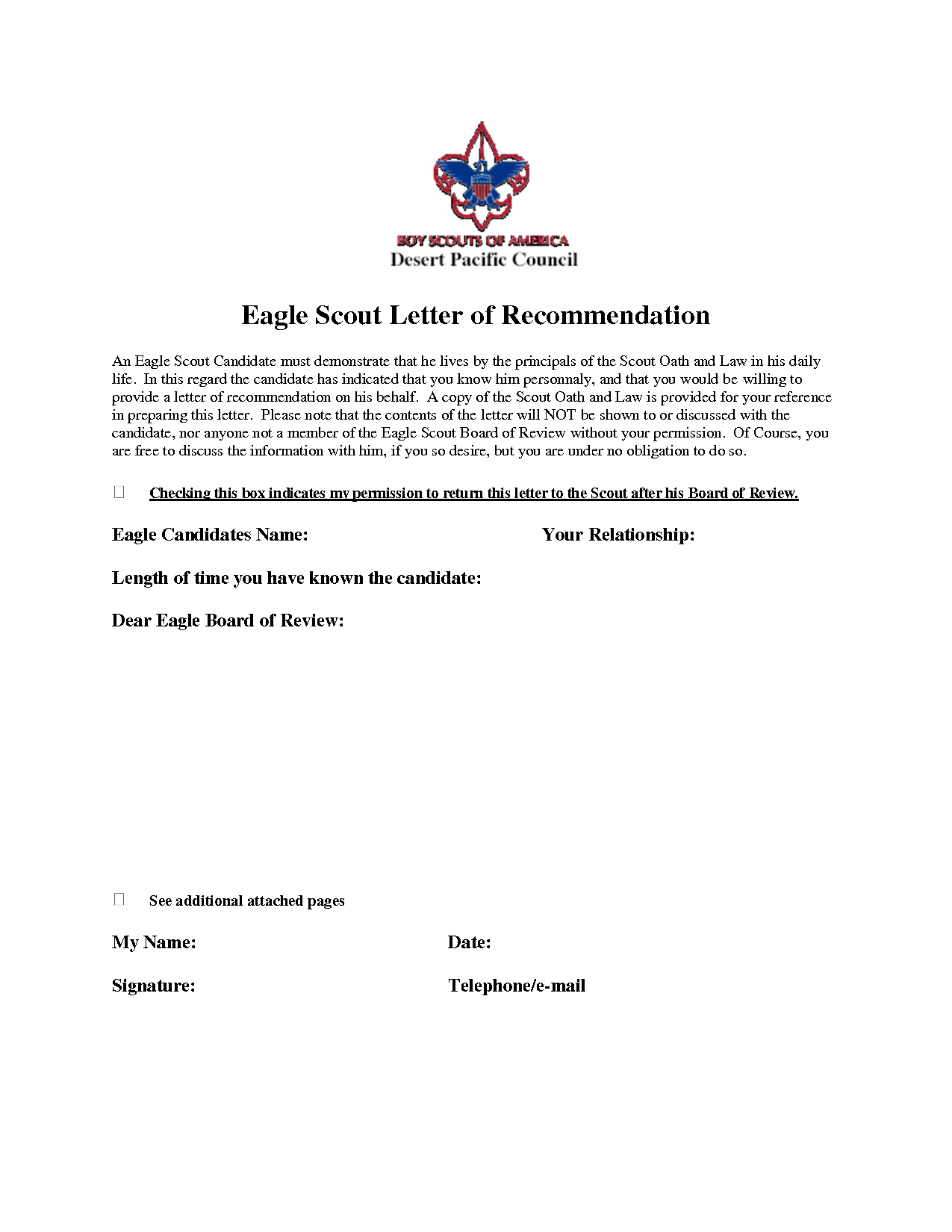 Eagle Scout Recommendation Letter Sample