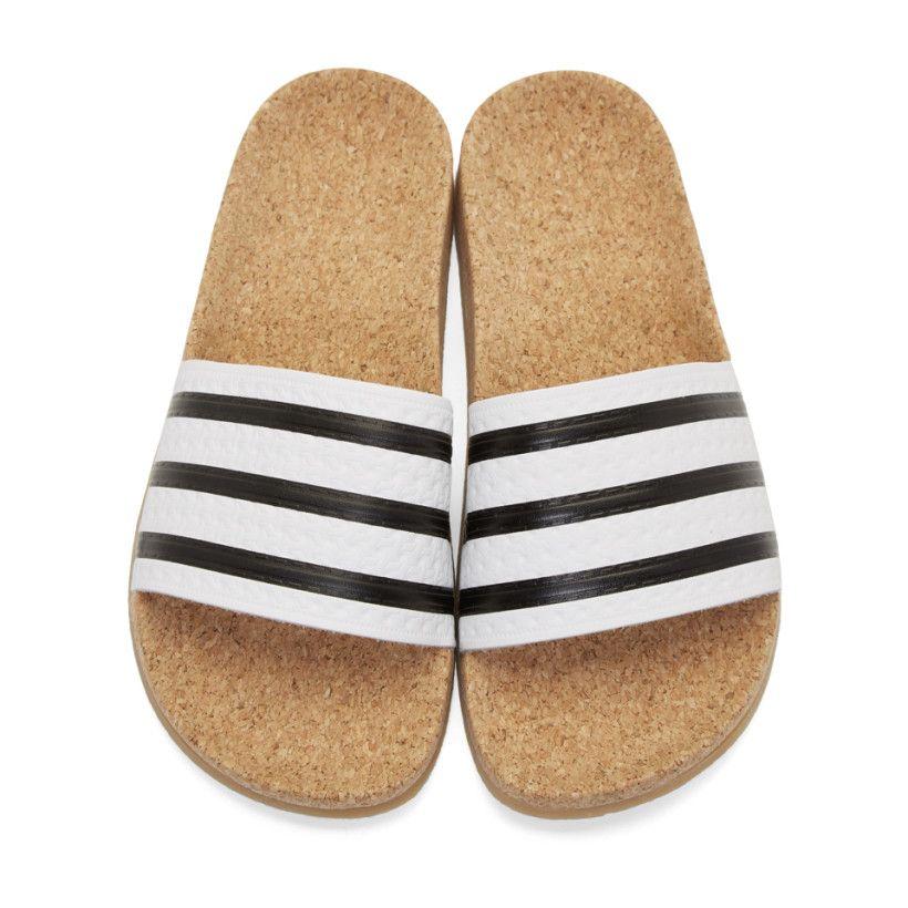 052d696cc2f2 adidas Originals - White Adilette Cork Slide Sandals