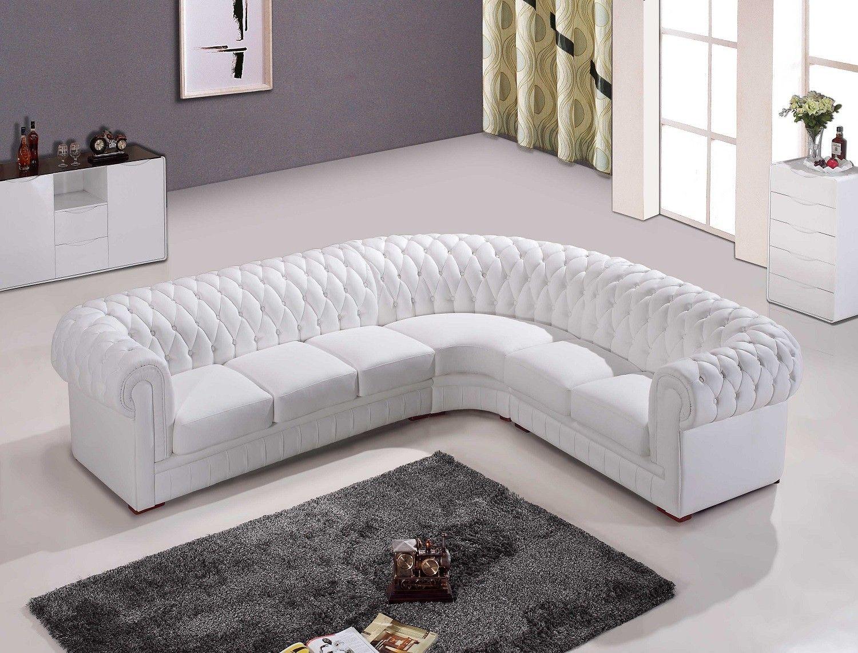 Chesterfield White Leather Corner Sofa