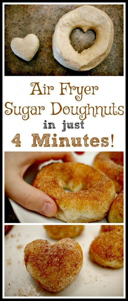 Easy 4-Minute Air Fryer Sugar Doughnut Recipe - Thrifty Nifty Mommy #airfryerrecipes