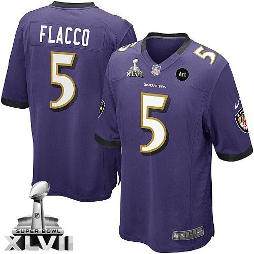 Men's Nike Baltimore Ravens #5 Joe Flacco Game Purple Team Color Super Bowl XLVII NFL Jersey