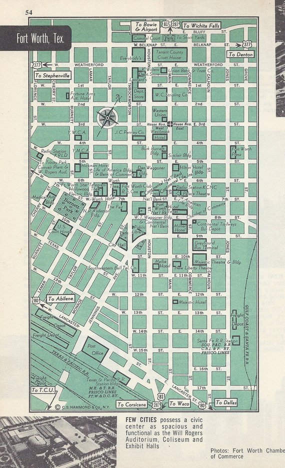 Fort Worth Texas Map, City Map, Street Map, 1950s, Green, Black and ...