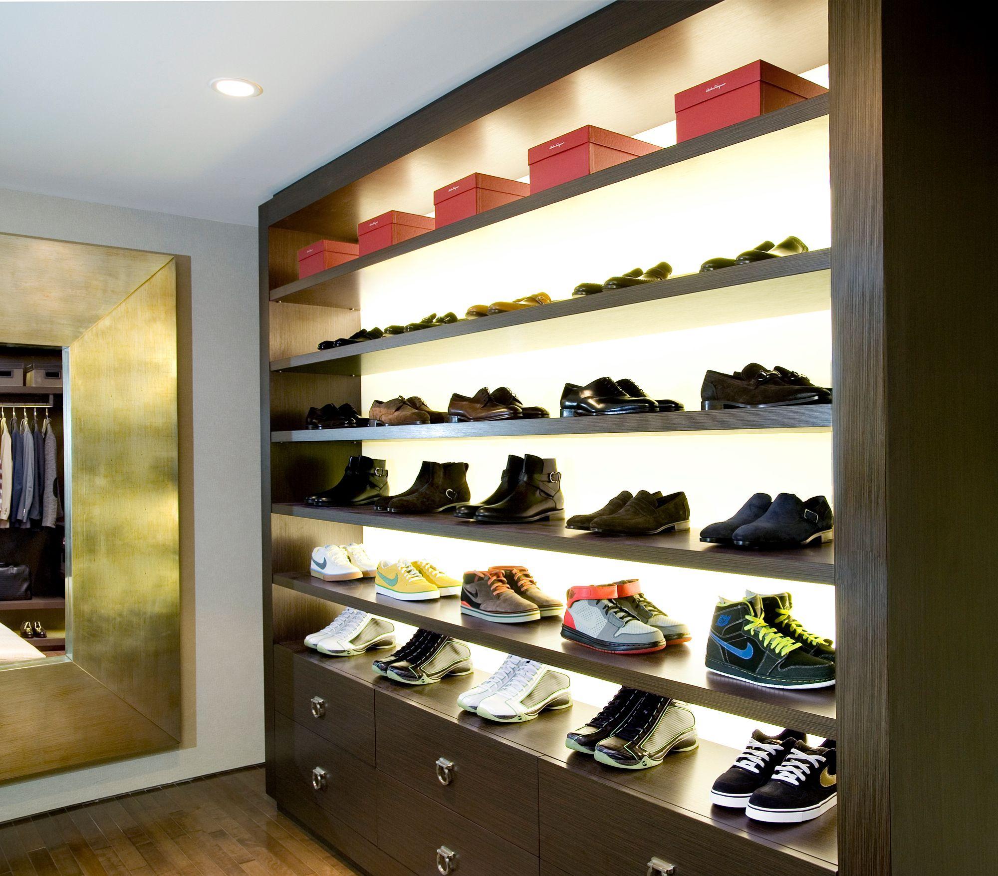 Shoe Display W. Back Lit LED Lighting. Designed By LA Closet Design.