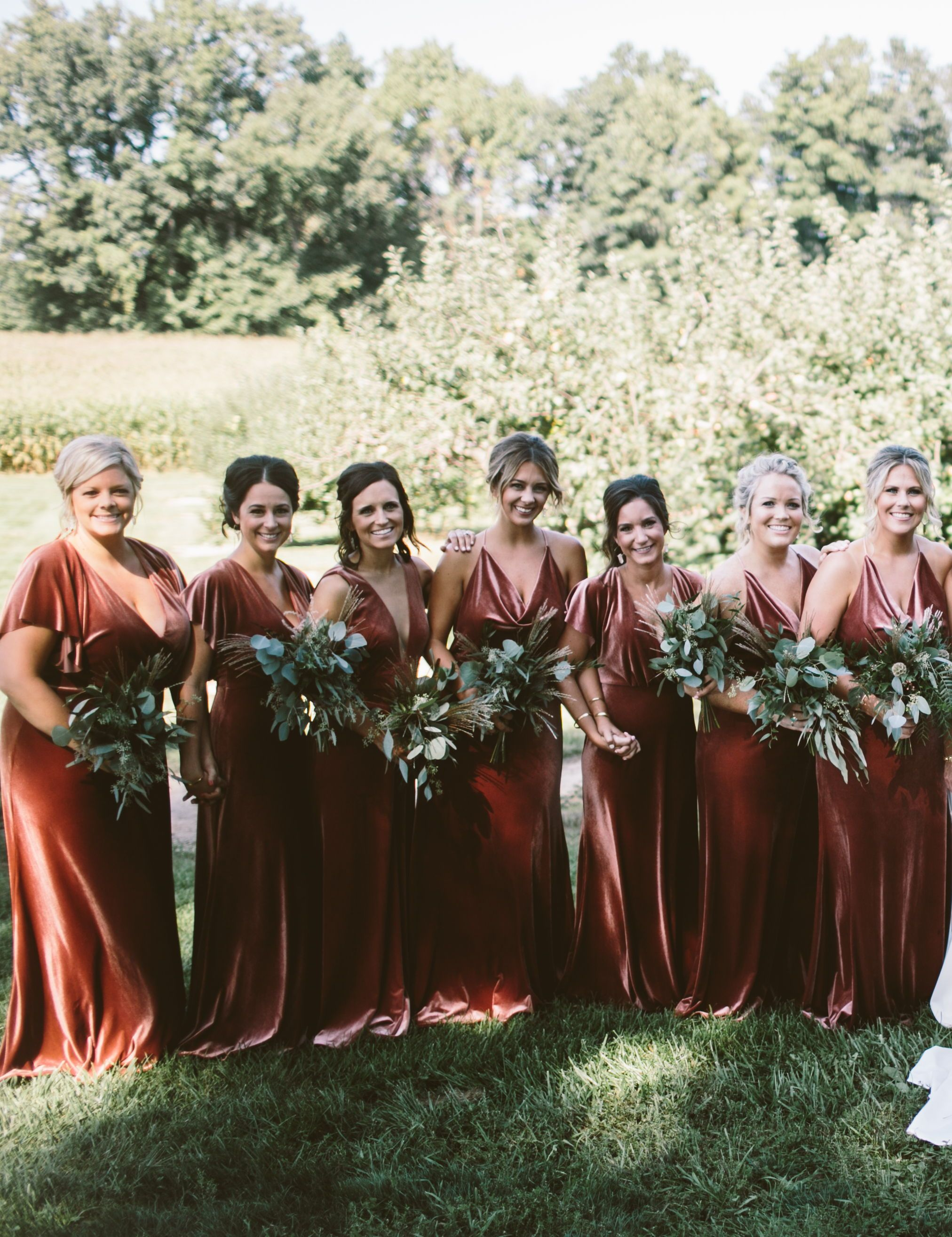 cc5816f8e26 Luxe Velvet bridesmaids dresses! These stunning gowns by Jenny Yoo in this  rustic shade called English Rose is the perfect autumn   fall bridal party  look.