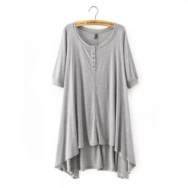 Long Sleeve Vintage Tunic- Gray - Simply BKC