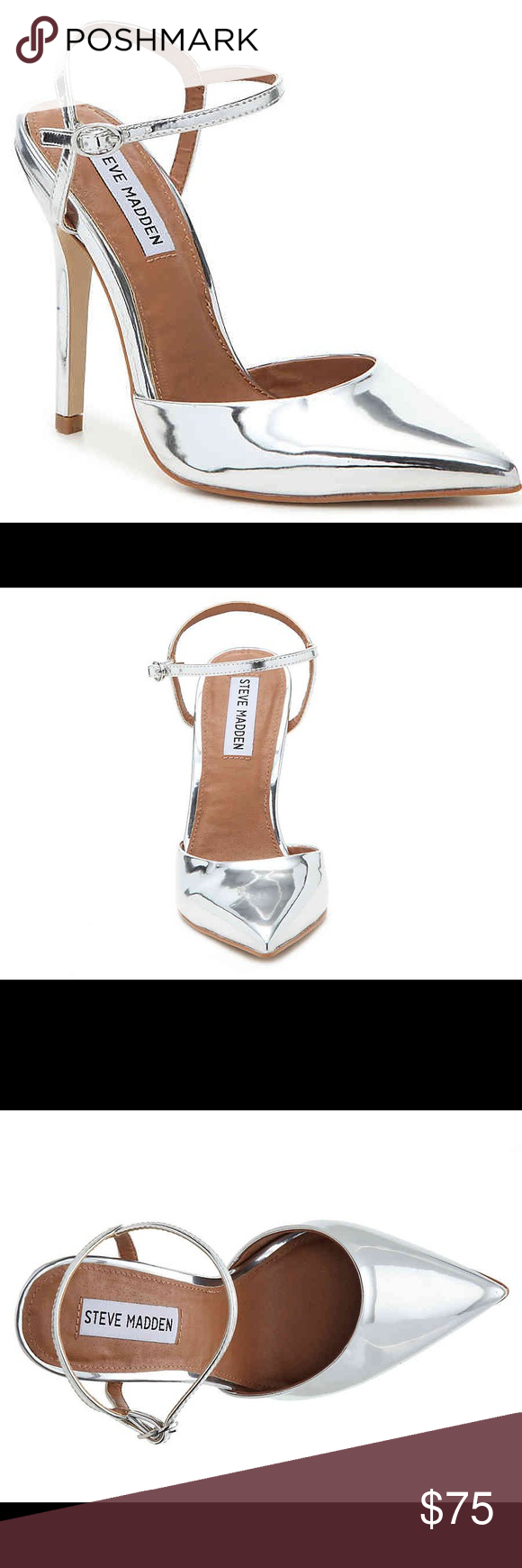 626f76630b4 🌟NWT🌟 Steve Madden pizzel silver pump Faux leather upper Adjustable  buckle strap Pointed toe Faux leather lining Padded footbed 4½