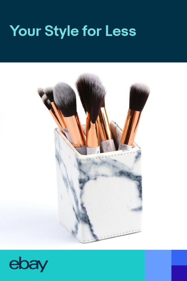 Universal Make Up Brush HolderStorage Pots White Marble