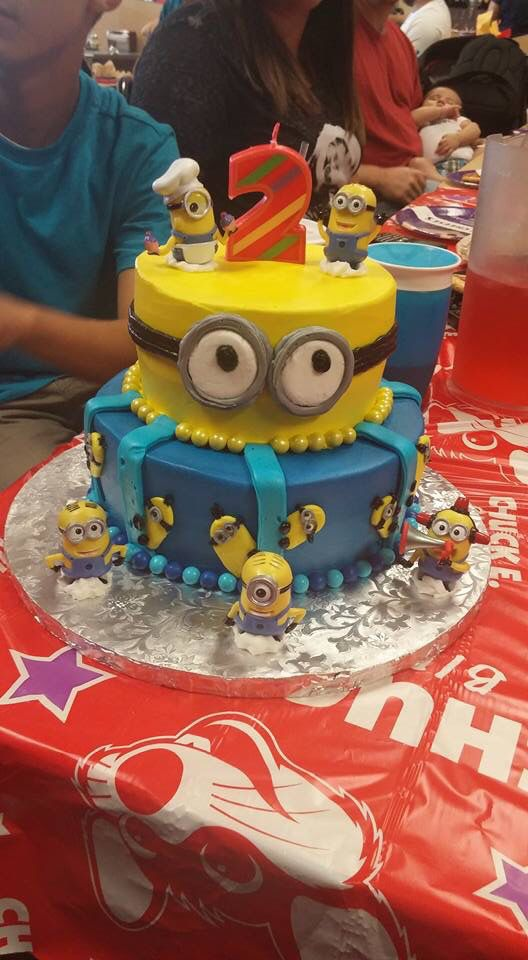 Minion Birthday Cake With 2 Candle For My Baby Girl Custom Made By Patti Cakes In Mannford OK