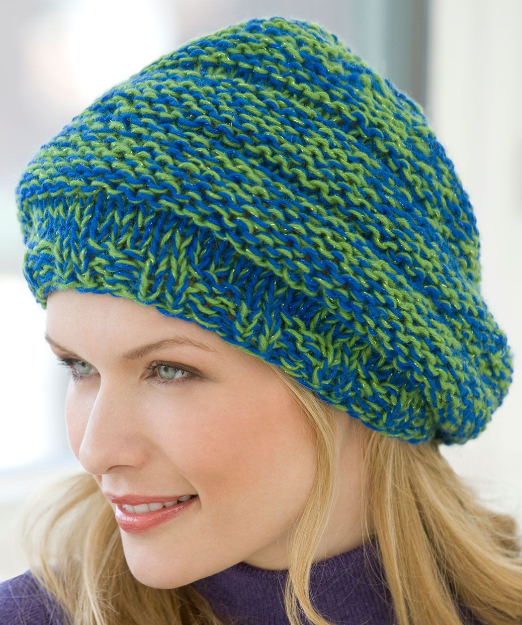 Knit Slouchy Hat: 2 Balls RED HEART® Shimmer®: [US 13], 16\