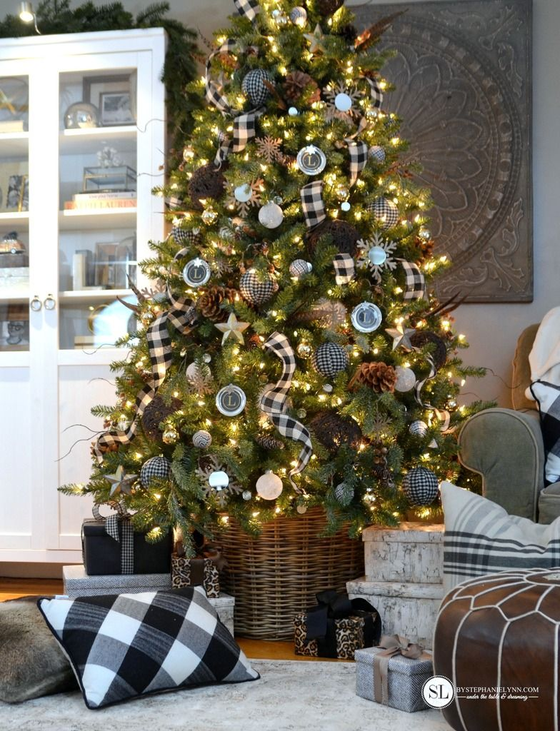 black and white mixed plaid christmas tree michaelsmakers by stephanie lynn - Buffalo Check Christmas Decor