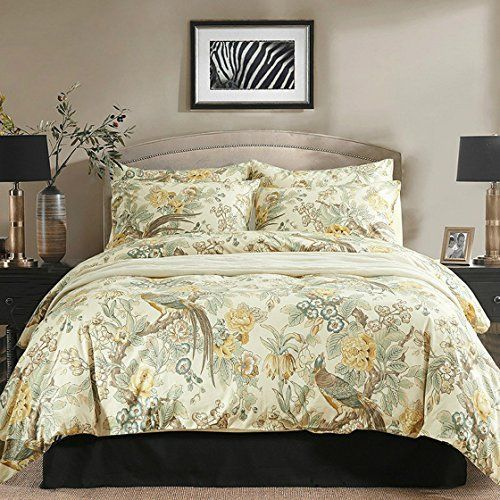 chinoiserie chic peacock floral duvet cover paradise garden botanical bird and tree branches vintage stylized long staple cotton bedding set queen yellow