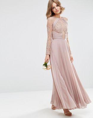 1e4af76af8 ASOS WEDDING Pretty Lace Eyelash Pleated Maxi Dress | Style | Asos ...