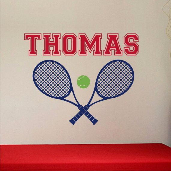 Personalized Name Tennis Racquets And Tennis Ball Custom Vinyl - Custom vinyl wall decals removable